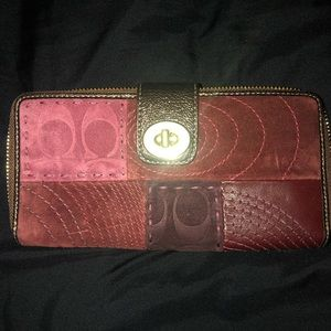 Coach Burgundy Patchwork Wallet